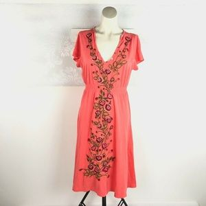 Johnny Was Embroidered Floral Flowers V-Neck Dress